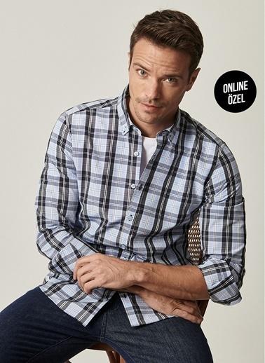 AC&Co / Altınyıldız Classics Tailored Slim Fit Dar Kesim Düğmeli Yaka Kareli Gömlek 4A2021100067 Siyah